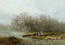 Misty Landscape with Woodcutters around a Fire