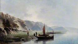 The Shore of a Lake with Boats and Figures