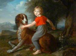 A Boy Sitting on a Dog's Back
