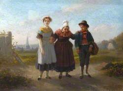 An Old Lady Walking with a Boy and a Girl (Les batons de vieillesse)