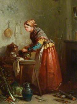 Woman Scouring Pots