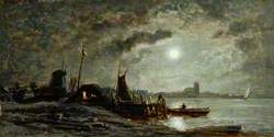 River Scene, Moonlight