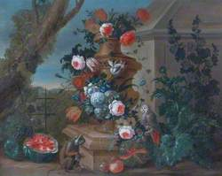 A Stone Vase of Flowers with a Parrot, a Monkey and Fruit
