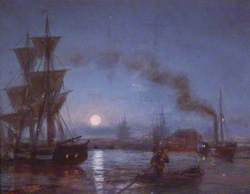 River with Shipping by Moonlight