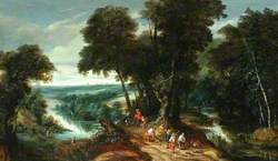 Landscape, Riverbank with Figures
