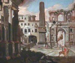 Town Scene in Italy with Ancient Ruins