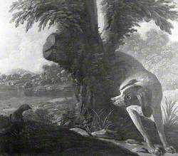 A Dog Pointing Partridge (Dessus de porte)