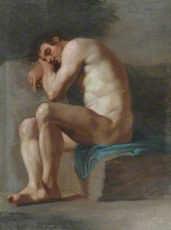 Academic Study of a Seated Male Nude