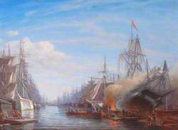 Two Lines of Ships, One Ship Ablaze for Breaming
