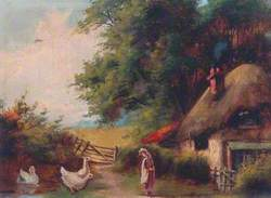 Rural Scene with Girl and Geese