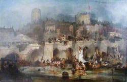 An Informal Procession of Boats on the River Wear to Celebrate the Victory of Waterloo, 1815