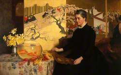 Lady with a Japanese Screen and Goldfish (The Artist's Mother)