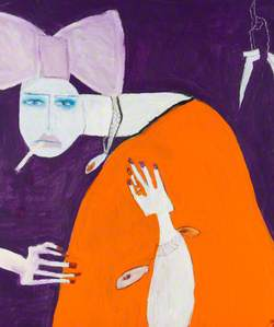 Woman in Orange with a Pink Bow*