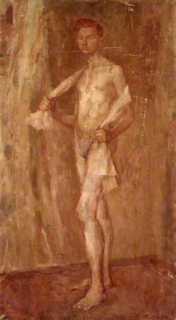 Standing Male Nude with White Cloth over Shoulders