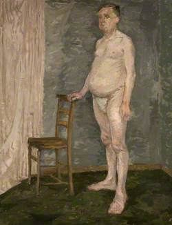 Standing Male Nude with Wooden Chair