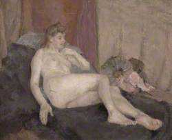 Reclining Female Nude with Fans