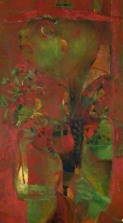 Abstract Figure with Bunch of Flowers in Red and Green