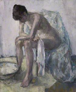 Seated Nude at Washbasin