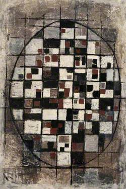 Abstract Composition with Grid and Oval