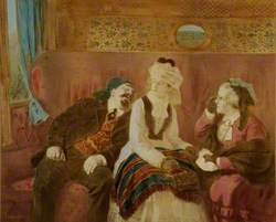 Scene in a Railway Carriage with a Man and Two Women