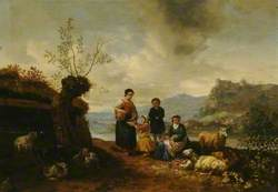 River Landscape with Peasant Women, Children and Animals
