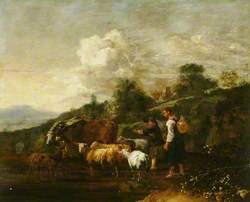 River Landscape with Herders and Animals