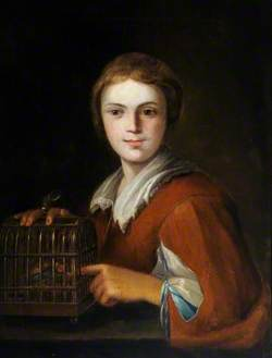 Portrait of a Boy Holding a Birdcage