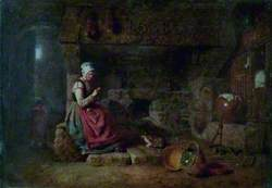 Interior, Lady Knitting