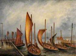 Scotch Herring Boats Leaving Bridlington Harbour, East Riding of Yorkshire, 22 September 1897