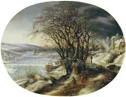 Winter Landscape with a Distant Village