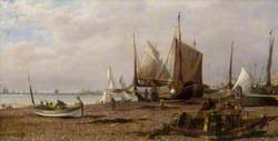 Brighton Beach, East Sussex, with Fishing Boats