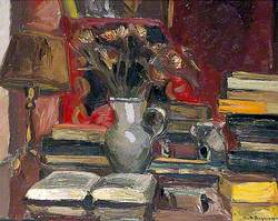 Still Life with Books, a Lamp and Jug of Flowers