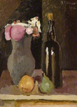 Still Life of Flowers with Bottle and Fruit