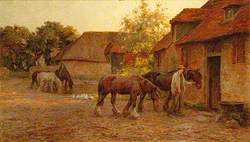 Horses at Wilmington, East Sussex (Priory Farmyard)
