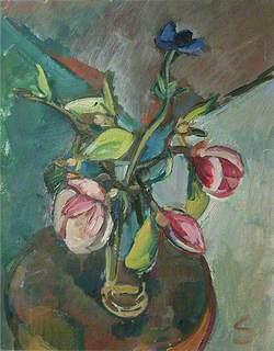 Anemones and Magnolia in a Vase