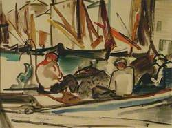 Fishermen in a Boat, Italy