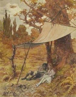 Two Children Asleep under a Canopy