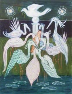 Flamingoes and Fish