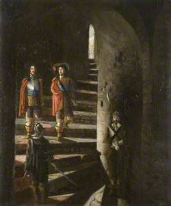 Lucas and Lisle Descending the Great Stair, Colchester Castle