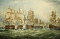 The Battle of Trafalgar, 21 October 1805 with 'Victory' Breaking through the Combined Fleet Astern of the 'Santisima Trinidad'