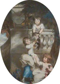 Three Young Girls on a Terrace with a Dog