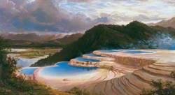 The Pink Terrace at Rotomahana, North Island, New Zealand