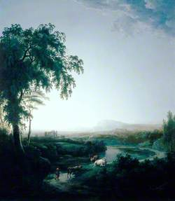 Landscape with River and Cows at Dusk