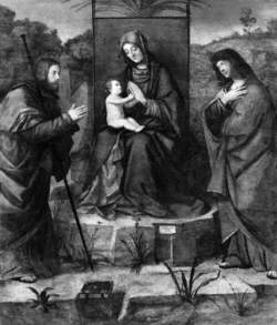 Virgin and Child Enthroned with Saint James Major and Saint John the Evangelist