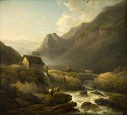 A Mountain Stream with a Peasant Driving Cattle over a Rustic Bridge