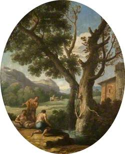 Landscape with Three Fishermen by a Stream