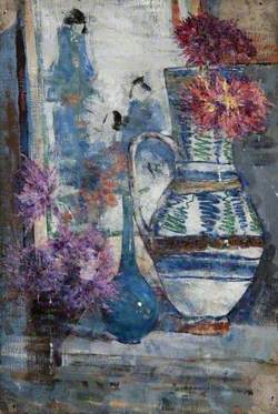 Still Life, a Vase, a Bottle and a Jug with Flowers