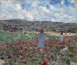 Landscape with Two Girls in Blue