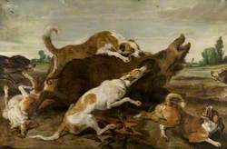 Dogs Harrying a Wild Boar
