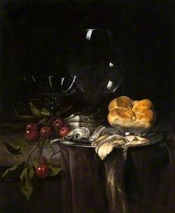 Still Life: Herring, Cherries and Glassware